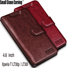 Crazy horse texture High quality High end flip leather phone back cover 4.6'For Sony Xperia T LT30p LT30 LT30i case + card slots