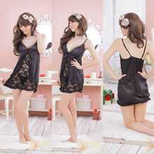 1 pc Sexy Lingerie Lace Dress Black Baby doll Sleepwear+G-string Free Size Set women intimate clothing