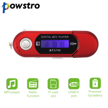Powstro MP3 Player LCD Screen Portable USB Digital Support 32GB TF Card & FM Radio Music Player(China)