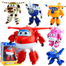 100% Brand New 12cm Super Wings ABS Planes Deformation Airplane Robot JETT Action Figures Toys Wholesale And Retail(China)