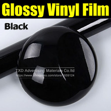 10/20/30/40/50/60*152CM High Quality Black Glossy Vinyl Film Gloss Black Wrap Bubble Free Car Wrapping by free shipping