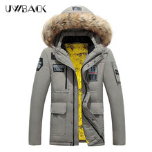 Uwback Winter Men Down Jackets Raccoon Fur Collar Super Warm Thick Parkas 2017Fashion Patchwork Mulit-Pocket Military Coat XA363(China)