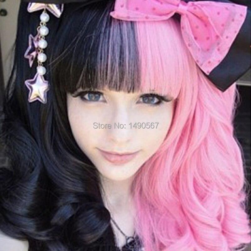 Japanese Harajuku Style  Sweet Lolita Black and Pink Wavy Lolita Wig Cospaly Wig<br><br>Aliexpress