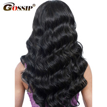 "Brazilian Body Wave Lace Front Human Hair Wigs For Black Women 8""-26"" Gossip Long Black Ponytail Swiss Lace Frontal Wig Non Remy(China)"