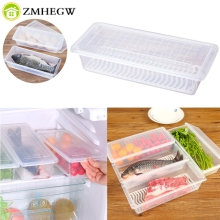 Kitchen Drain Water Preservation Refrigerator Refrigerated plastic storage box organizador de maquiagem porta joias 27*11*6cm(China)