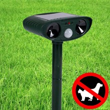Solar Power Ultrasonic Wave InfraRed sensor Dog Cat Repeller Chaser Dual Ultra Sonic Repeller Animal Scarer Deterrent(China)