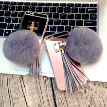 For Huawei P9 plus P8 Lite P9 Luxury Soft Plush Gray Real Rabbit fur pompom Fluffy Tassel Mirror Phone Back Cover()