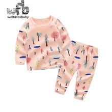 Retail 1-10 years set cotton long-sleeved T-shirt home service + pants printed tree girl spring fall autumn