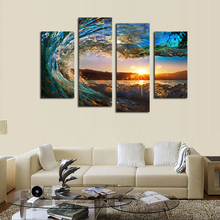 4 Panels Canvas Painting Wall Art Picture Flowers or Ocean Pattern Print Paintings Frameless Modern Home Decoration Wallpapers