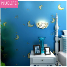 0.53x10m Cartoon star moon pattern nonwoven wallpaper children bedroom study room living decoration N4 - To dream of store