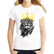 Harajuku Style Women's Tops Funny Animals T Shirt 3D Rock Crazy Cat Happiest Love Bear Crown Lion Cut Dog Printed tshirt(China)