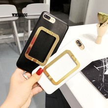 WMZSUCC Luxury Fashion Square Holder PU Case For IPhone 7 Plus Phone Cover Bag Case For IPhone 6 6s Plus Capa(China)