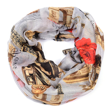Paris Louvre winter infinity scarf women Eiffel Tower shawls and scarves bufandas mujer 2015 french euro foulard echarpe femme