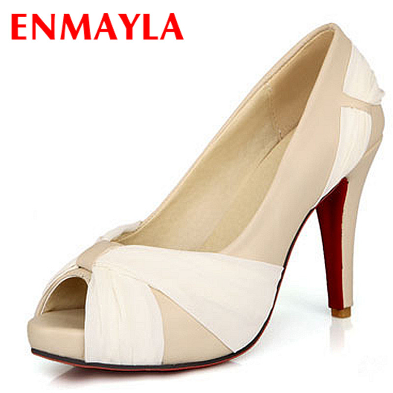 ENMAYLA New Women Shoes Sexy High Heels Bridal Wedding Shoes Woman Night Club Peep Toe Platform Pumps 8 Colors Ladies Shoes<br>