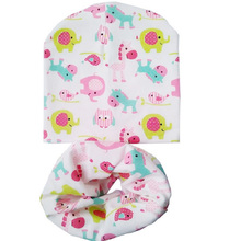 Cartoon baby girl hat Boy cap Baby Caps and Hats children cotton scarf-collar autumn winter infant hat sets for 0 to 4 years