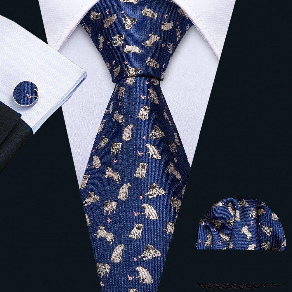 2019 Fashion Designer Bulldog Pattern Blue Silk Tie Hanky Set Barry.Wang 8.5cm Neck Ties For Men Gift Party Dropshipping FA-5168