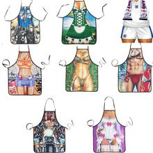 Lovely Cooking Kitchen 3D Printed Apron Sexy Kitchen Cooking Baking Home BBQ Apron Party Festive Decorations