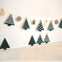 One Set  3 Meters Long 6 pcs Felt Christmas Trees Home Party Ornament Featival  Christmas Decoration