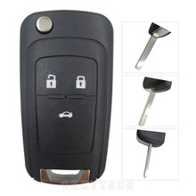 Flip Folding Key Shell for Chevrolet Cruze Remote Key Case Keyless Fob 3 Button Uncut  Blade for Chevrolet LOGO included