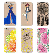 "For iPhone 5 5s SE 6 6s 7 7Plus 4.7"" Case Hot Soft TPU Flowers Friuts Girls Painted Phone Skin Transparent Clear Back Case Cover"
