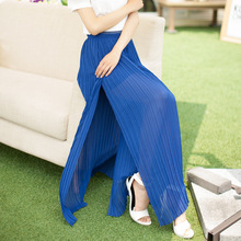 BOOTYJEANS 2017 Spring Summer Women's Bohemian Style Long Skirts All-match Pleated High Waist Maxi  Slim Skirt Blue Pink