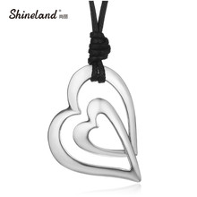 Shineland Trendy 3 Style Love Heart PU Leather Chain Vintage Antique Silver Color Drawing Long Necklace Statement Women Jewelry(China)