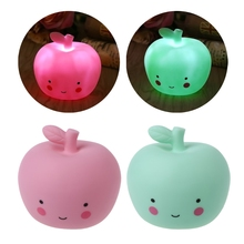 LED Vinyl Apple Sleep Table Bedroom Baby Night Light For Kids Feeding Bedside Lamp -Y122(China)