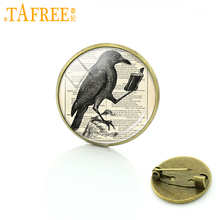 TAFREE Vintage glass cabochon raven crow brooch pins antique owl birds badge jewelry butterfly brooches gifts for men C655(China)