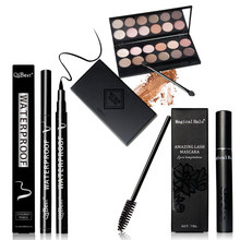 Eye makeup combination 12 Color Eyeshadow & Mascara & Eyeliner & free send 12pcs eyelash brush