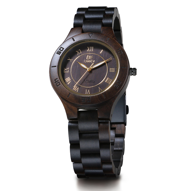 LeeEv EV1986E Womens Natural Black Sandal Wood Watch Quartz Light Weight Vintage Wooden Wrist Watch<br>