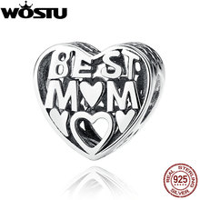 100% 925 Sterling Silver Best Mother Charm Beads Fit Original wst Bracelet Authentic Fine DIY Jewelry Gift