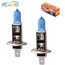2pcs HID headlamps halogen h1 55w 6000k bulb white car light lamp cars fog light lens led headlight  car styling 12v