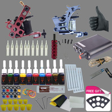 Completed Tattoo Kit 2 Tattoo Machines Set 10 Colors Ink Power Supplies Box Grips Body Art Supplies Needles Tips Tattoo Beginner