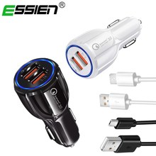 Buy ESSIEN Car Micro USB Charger Quick Charge 3.0 Mobile Phone Charger 2 Port USB Fast Car Charger Samsung Xiaomi Android Phone for $1.04 in AliExpress store