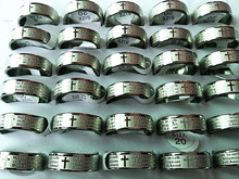 Brand New 50PCs English The Lord's Prayer Stainless Steel Polished Band Etching Rings Wholesale Lots(China)