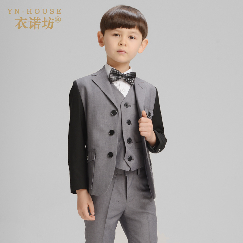 2017 New Children Suit Baby Boys Suits Kids Blazer Boys Formal Suit For Weddings Boys Clothes Set Jackets+Shirt+Pants 4pcs 4-14Y