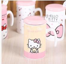 Kawaii Cartoon 300ML Hello Kitty Doraemon Ceramic Coffee Mug Cup With Lid Spoon