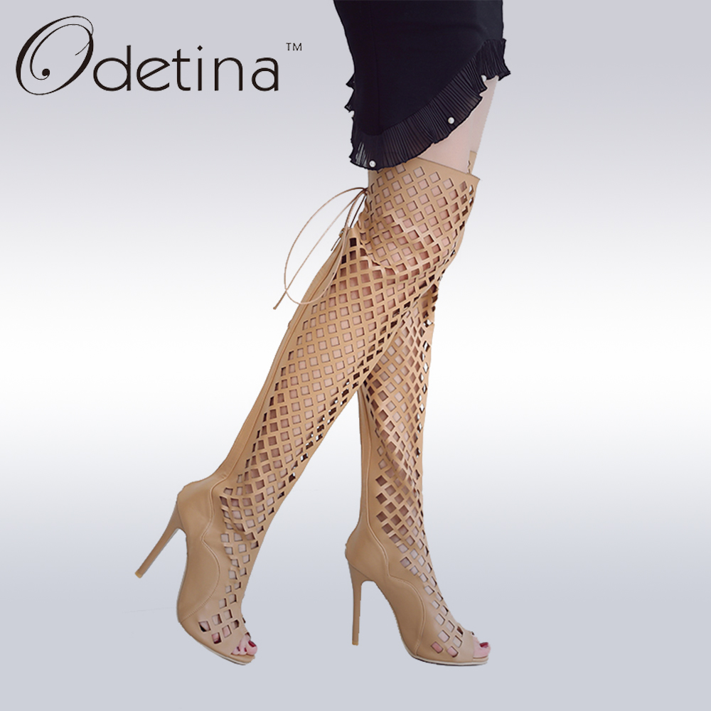 Odetina 2017 Fashion Sexy Over The Knee Peep Toe Boots Super High Heels Sexy Sandals Lace Up Black Women Summer Boots Hollow Out<br>