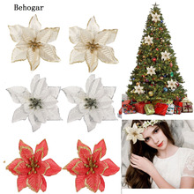 Behogar 213CM Xmas Glitter Artificial Flowers Ornaments Decorations Home Christmas Tree Wreaths Party Wedding Decor - Gosear store