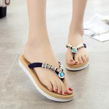2017 female summer toe sandals with flat Sandals Flip Flops Beach Shoes wholesale Diamond Beads