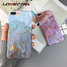 LOVECOM Pink & Blue Marble Stone Pattern Hard PC Matte Case For iPhone 6 6S 7 Plus Mobile Phone Cases Back Cover Coque Bag Shell