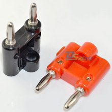 High Quality Brand New 1 Pair Screw Type Dual Banana Plug Speaker Connector Converter 2Pcs 2 Color
