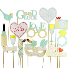 Mint 16pcs Wedding Photo Booth Props Kit with Gold Sparkly Holiday Song Lyric Photo Props on a Stick Wedding Signs(China)