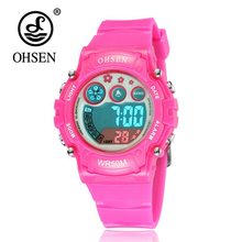 OHSEN Fashion Cool Brand Digital LED Girl Kid Wristwatch Silicone Strap Alarm Stopwatch Pink Children Waterproof Swim Watch Gift(China)