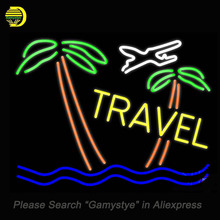 NEON SIGNS For Taxi And Buses With Arrow Tours Travel Icon Travel Open Palm Tree Turquoise Cruises Texaco Logo Gasline handcraft(China)