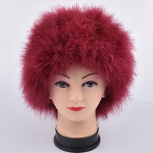 Women Winter Fur Cap Genuine Ostrich Feather Turkey fur Fur Hat Multicolor Turkey Fur Beanies Hat Full Lined Light weight