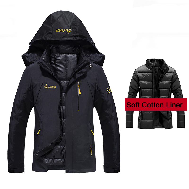 Womens Winter 2 Pieces Inside Cotton-Paded Jackets Outdoor Sport Waterproof Thermal Hiking Ski Camping Climbing Female Jackets<br>