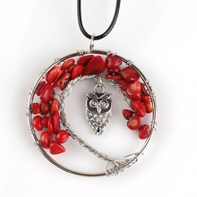 Trendy-beads Popular Silver Plated Tree of Life Inlay Owl Wire Wrapped Pendant Red Coral Necklace Fashion Jewelry