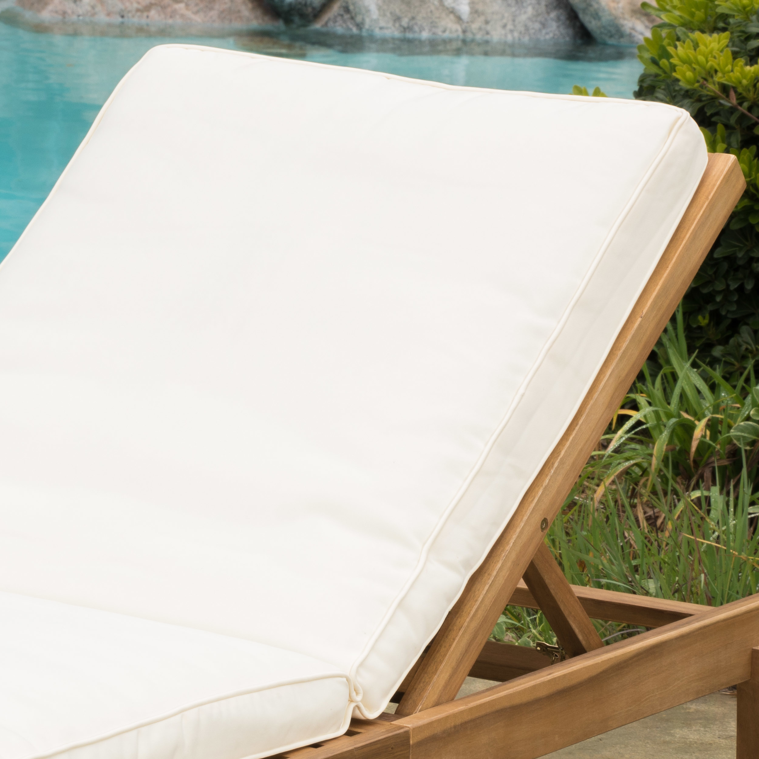 Paolo Outdoor Teak Brown Wood Chaise Lounge with Cushion (1)