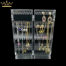 Clear Acrylic Earrings Display Holder Necklace Pendant Box Jewelry Storage Bag Organizer Cases holder up 120 pairs of earrings(China)